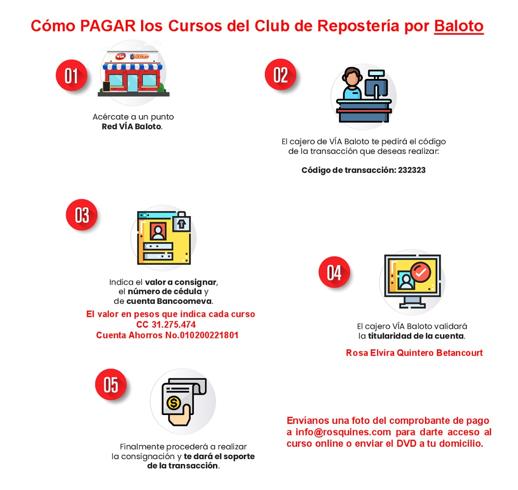 Cómo pagar los cursos del Club de Reposteria en un punto Baloto